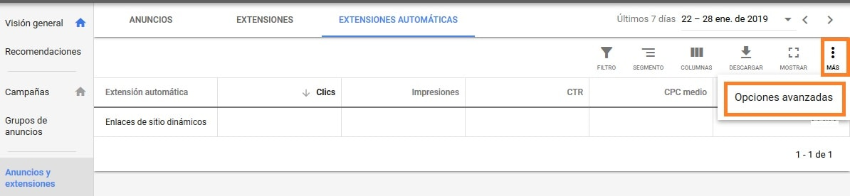 opciones extensiones automaticas adword